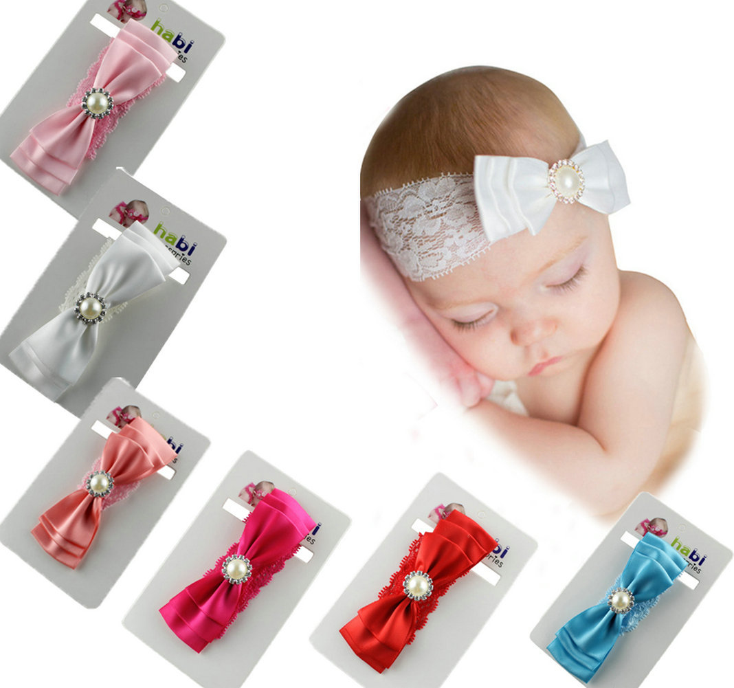 Baby Headband Ribbon Handmade Toddler Infant Kids Hair Accessories Girl Newborn Bows pearl crystal tiara Turban Elastic bandage 20pcs cute hair bows boutique alligator clip grosgrain ribbon for girl baby kids t026