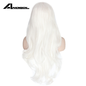 Image 4 - Anogol Long Natural Wave High Temperature Fiber Side Part White Synthetic Lace Front Wig For Women