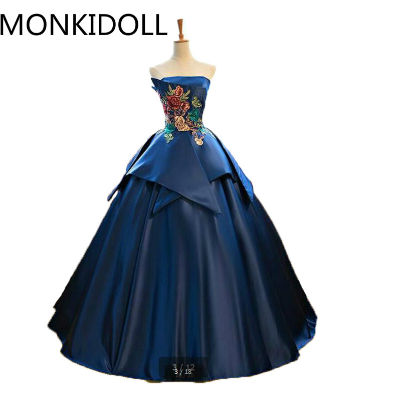 Ball-Gown Prom-Dress Sweetheart Appliques Strapless Navy-Blue Burgundy Princess Lace