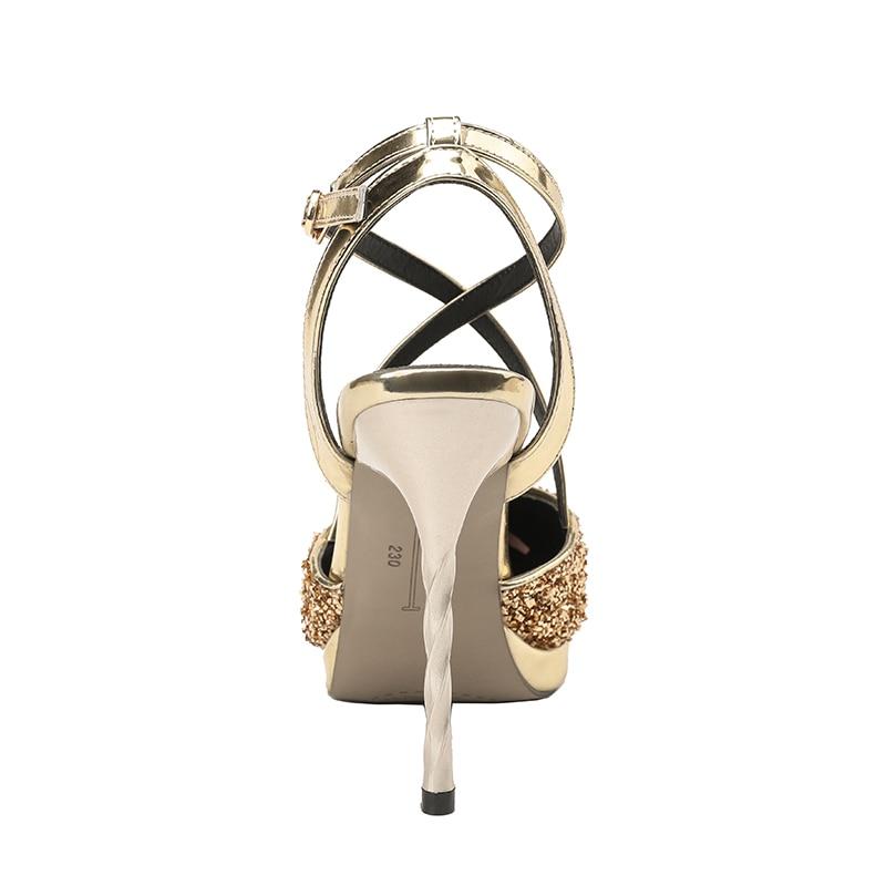 10 2018 Femmes Noir Extreme Sandales Pompes Talons Cm argent Sexy marron Argent Chaussures or Dame Or Glitter D'été Partie Fétiche trqxn1cA5t