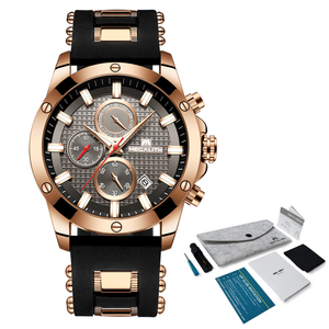 Image 5 - MEGALITH אופנה הכרונוגרף גברים שעונים תאריך סיליקון רצועת ספורט קוורץ שעון גברים זוהר עמיד למים שעון Relogio Masculino