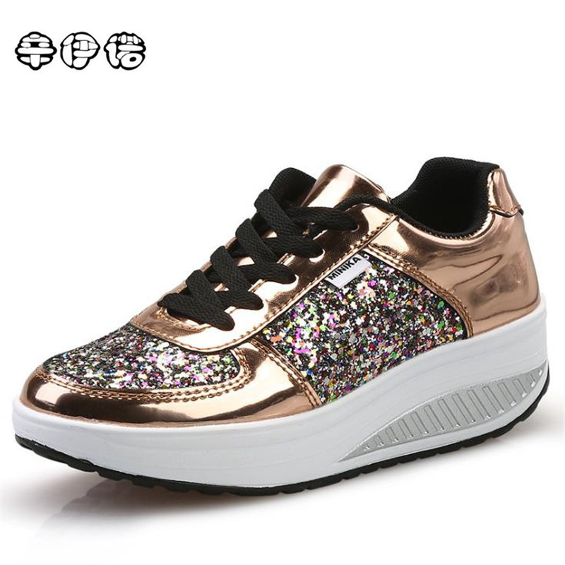 Cheap! Cool Gold Sequined Spring/Autumn Women Casual Shoes Sport Fashion Walking Shoes Swing Wedges Shoes Woman Free Shipping free shipping fashion loss weight women shoes spring summer autumn swing female breathable mesh shoes women casual shoes 2717w