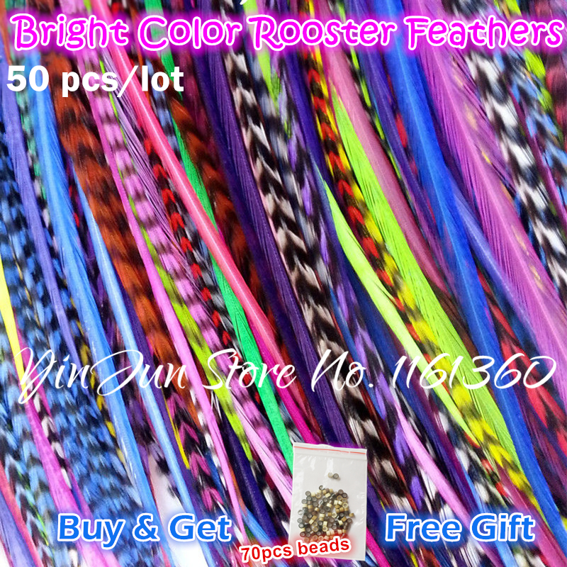 "Engros Styling 50pcs 6-12 ""Bright Color Grizzly Hair Feathers Extension Ombre Hair Tilbehør til Hair Clips for Women Girls"
