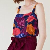 100% viscose flower printing Wild Strap Women Top Camis women summer tank top with little star
