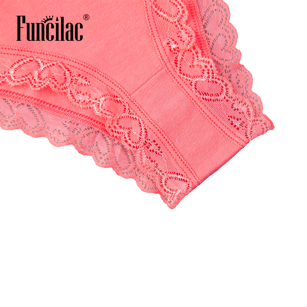 FUNCILAC Womens Underwear Lingerie Hipster Cotton Lace Panties Briefs Sexy Thong for Ladies Clothes Intimate 5pcs/Lot