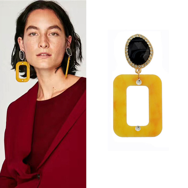 Crazy Feng Unique Designs Punk Rock Acrylic Square Drop Earrings For Men Women Fashion Dangle Earring With Crystal Pendientes