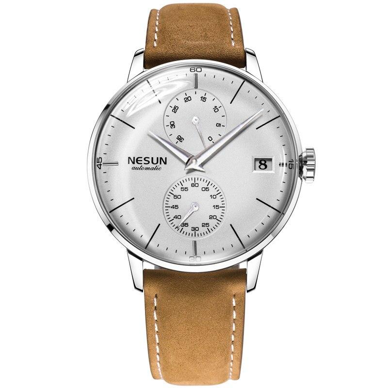 Saatler'ten Mekanik Saatler'de Lüks marka erkek saatler Nesun otomatik mekanik İzle erkekler safir relogio masculino hakiki deri kayış saat N9606 1 title=