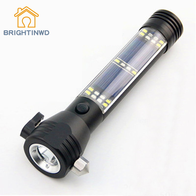 цена на Multifunctional Solar Light Flashlight LED 8W 7Files Emergency Car Safety Hammer Outdoor Portable Light Self Defense Torch