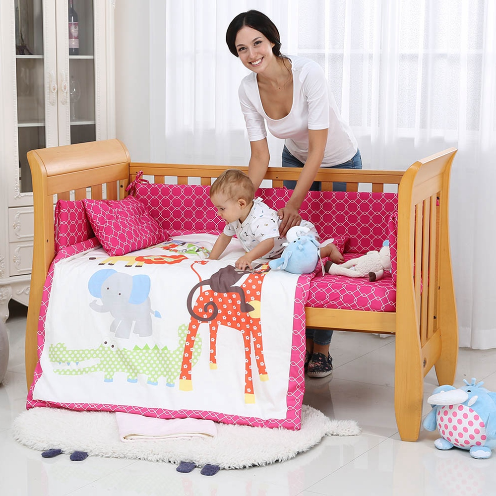 i baby Baby Bedding Set 9pcs Crib Set Newborn Jungle Animals Cotton Printed Sheet Duvet Pillow Quilt Cot Sets in Crib Girl in Bedding Sets from Mother Kids