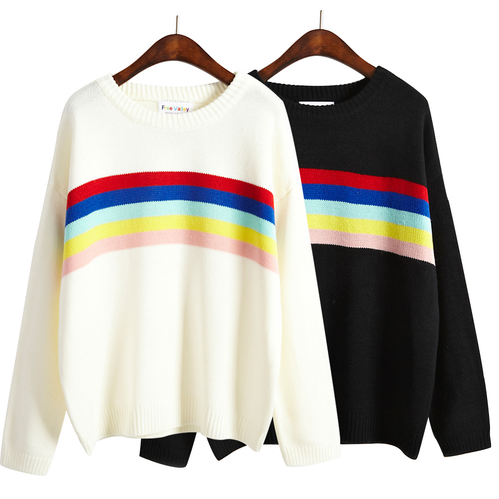 2017 Women sweaters and pullovers autumn long sleeve o-neck tops rainbow stripes casual  ...