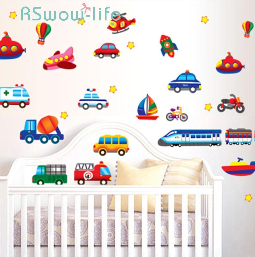 Creative Car Airplane Cartoon Vehicle Wall Stickers Children's Room Kindergarten Decoration Stickers DIY Wall Sticker-in Wall Stickers from Home & Garden
