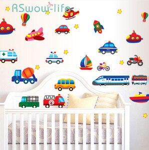 Image 1 - Creative Car Airplane Cartoon Vehicle Wall Stickers Childrens Room Kindergarten Decoration Stickers DIY Wall Sticker