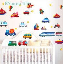 크리 에이 티브 자동차 비행기 만화 차량 벽 스티커 어린이 방 유치원 장식 스티커 diy 벽 스티커