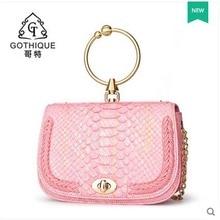 gete new boa constrictor leather  serpentine women handbag  metal clasp clasp real Python skin women bag