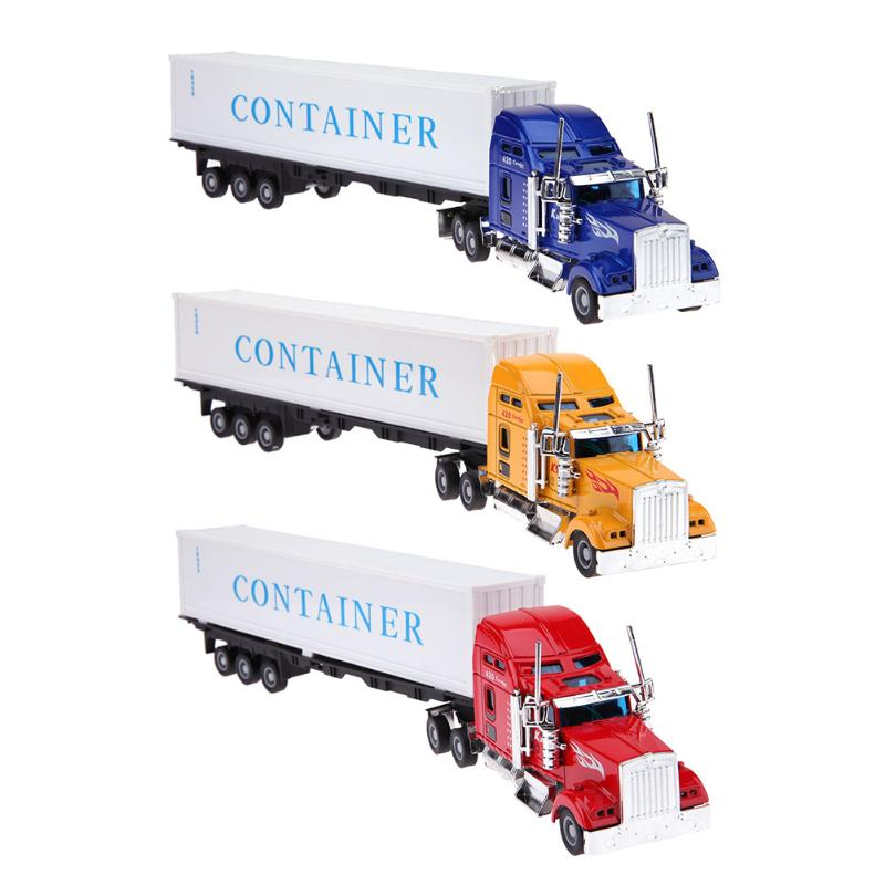 1:42 American Container Truck Alloy Vehicles Model Inertial Truck Model Toy Mini Kid Inertial Engineering Vehicles Kids Car Toys