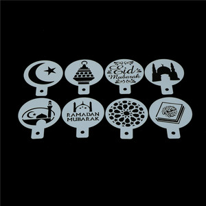 Image 4 - 8ピース/セットコーヒー印刷テンプレートスプレーステンシル白プラスチックイードムバラクラマダンフォンダンケーキビスケット装飾ツール