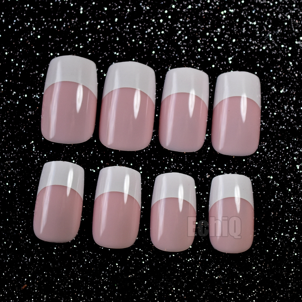 24pcs/kit Orange Pink Acrylic Nail Tips Flat Top Long Full Wrap ...