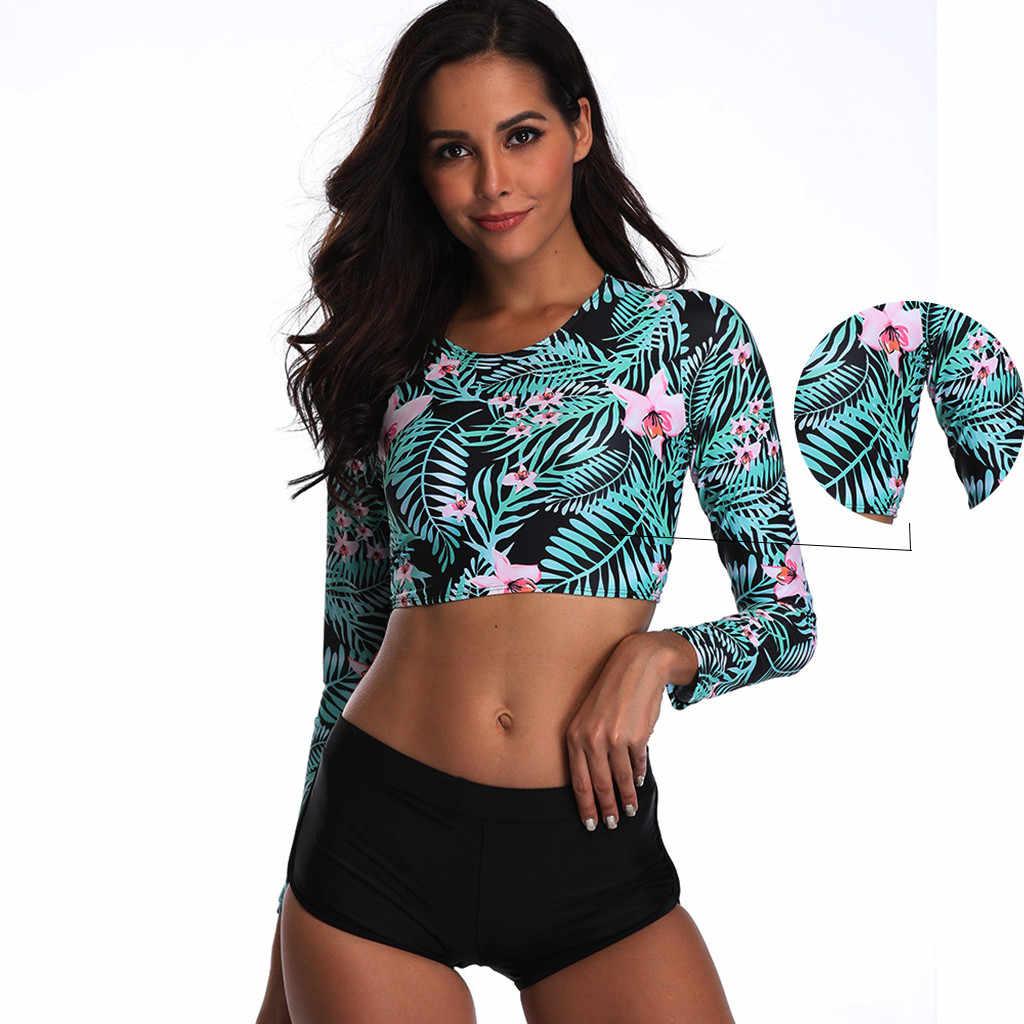 Женская сексуальная модная Укороченная рубашка с длинными рукавами, шорты, костюм, пляжная одежда для отдыха на море, УФ-защита, костюм для серфинга