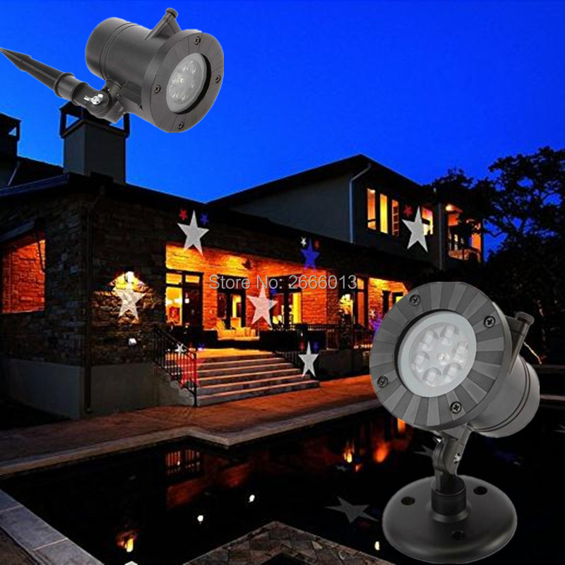 LED Moving Star Landscape Laser Projector Lights With 12 Pattern Replaceable Slides Outdoor Waterproof Spotlight Garden Light led star projector lamp