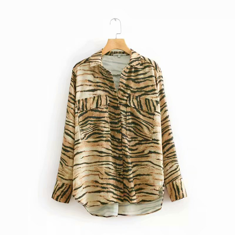 fa2d5c1fa5 women fashion double pockets tiger pattern stripes print blouse casual  shirts women business femininas blusas chic tops LS2864-in Blouses & Shirts  from ...