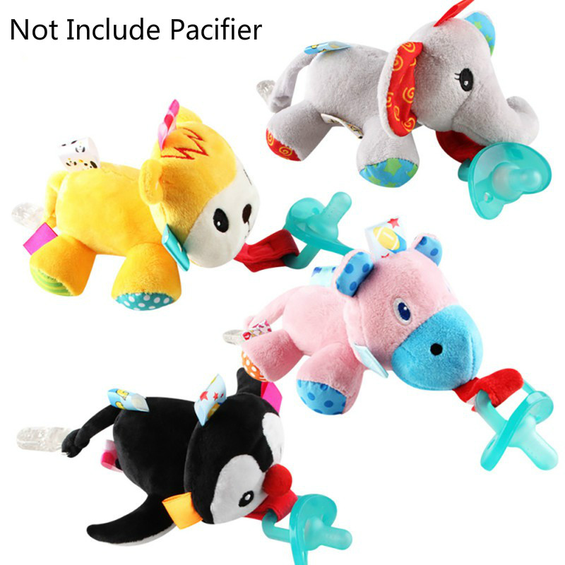 Baby Dummy Clip Baby Feeding Cartoon Animals Plush Pacifier Clip Nipples Holder