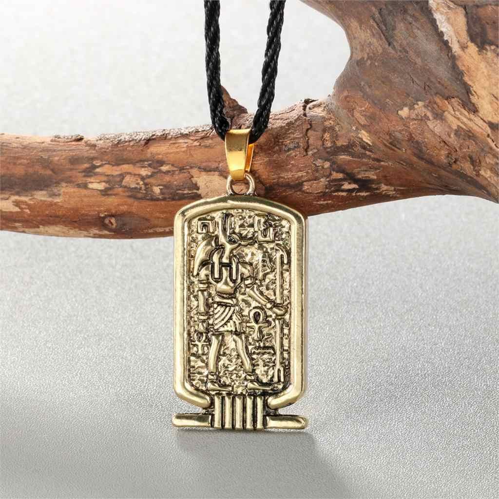 Cxwind โบราณอียิปต์ผู้ชาย Ankh Cross ชีวิต Anubis สร้อยคอ Amulet จี้คริสเตียน Vintage Bronze Chain เชือกเครื่องประดับ