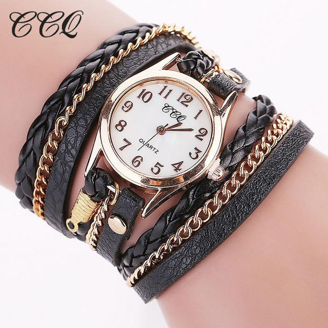CCQ Vintage Women Bracelet Watch Leather Band Wristwatch Punk Style Link Chain A