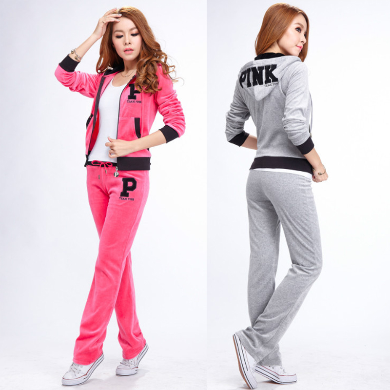 5e7a2cbf New 2015 fall winter vs love pink jogging suits for women quality velvet  sport tracksuits hoodie n pants 2 piece outfits set