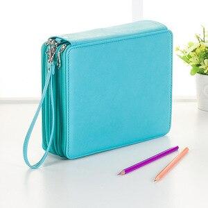 Image 4 - 124 posiadacze o dużej pojemności piórnik dla Art długopisy akwarela kolorowe PU skórzane ołówki torba Box szkolne artykuły biurowe