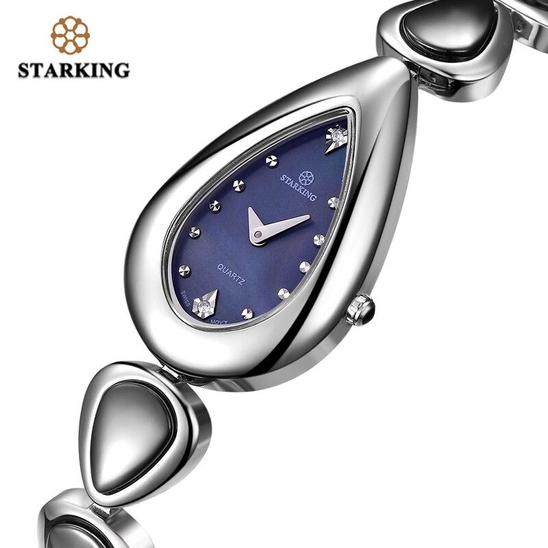 STARKING Brand Watch Quartz Ceramic Stainless-Steel Women Fashion Swiss Crystal Movt