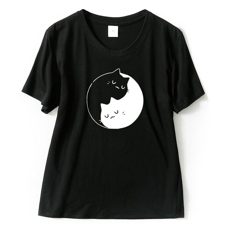 T shirt Tai Chi Cat Women Cartoon Summer Casual 100 Cotton Short Sleeve T shirt High