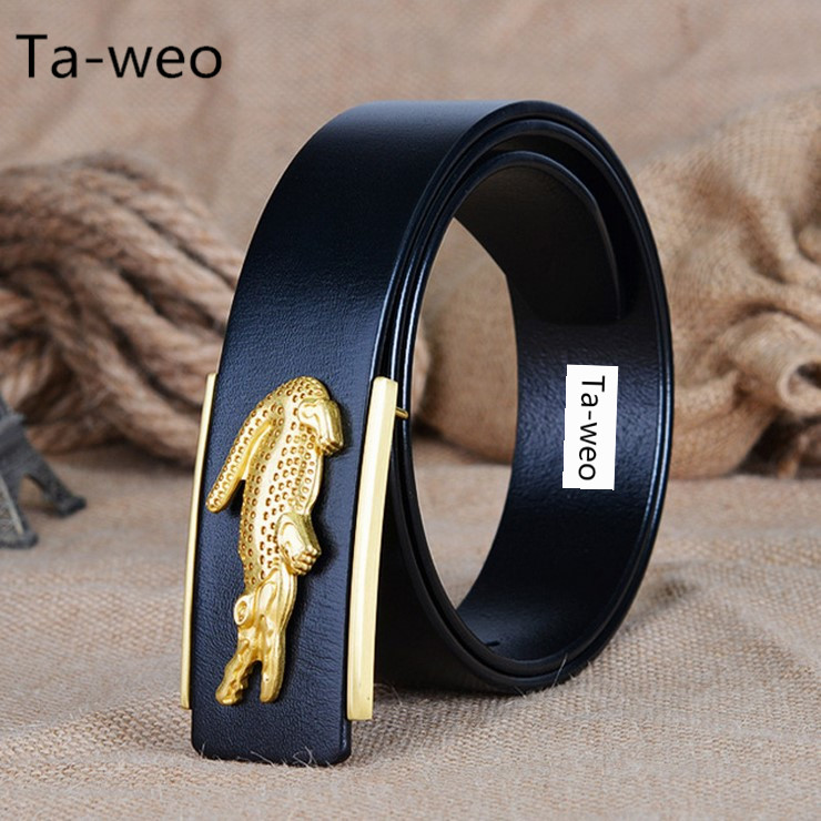 Fashion Business Crocodile Smooth Buckle Designer Belts Men High Quality100 Genuine Leather Belt Men Luxury 110