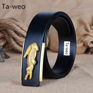 Image 1 - Fashion Business Crocodile Smooth Buckle Designer Belts Men High Quality100% Genuine Leather Belt Men Luxury 110 125cm