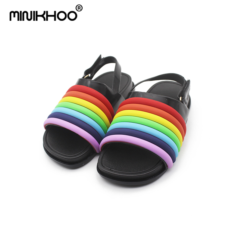 Mini Melissa 2018 Summer Rainbow Jelly Sandals Girl Shoes Breathable Baby Beach Sandals Melissa Girls Jelly Sandals Water Shoes