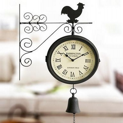Classic Metal Double-Sided Wall Clock Bedroom Living Room Decorative Bells
