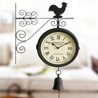 Classic Metal Double Sided Wall Clock Bedroom Living Room Decorative Bells