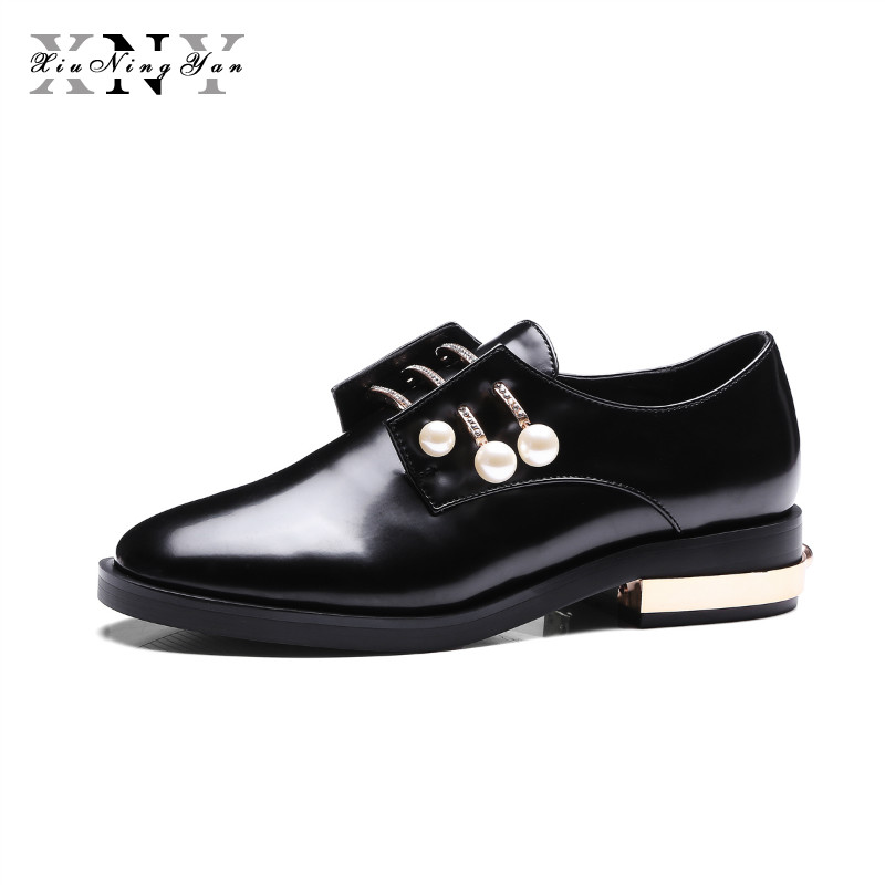 XIUNINGYAN Women's Flats Genuine Leather Metal Pearl Lace UP Autumn Spring Black White Casual Brand Fashion Shoe Plus Size 34-43