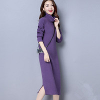 2017 New Women Autumn Winter Sweater Knitted Dresses Slim Elastic Turtleneck Long Sleeve Sexy Lady Bodycon