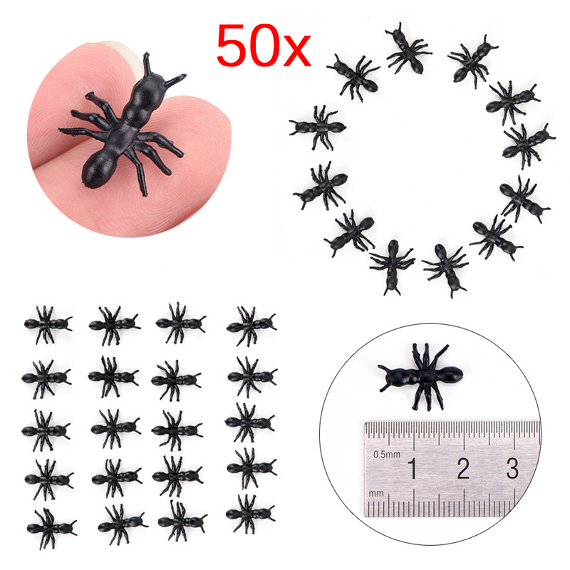 Capable 50pcs Small Black Plastic Fake Spider Toys Halloween Funny Joke Prank Props Hc Event & Party