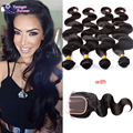 Peerless Peruvian Body Wave With Closure 7A 4 Bundles Peruivan Hair with Closure Unprocessed Peruvian Virgin Hair with Closure