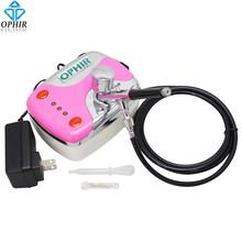 OPHIR Pink Portable Quiet Mini Airbrush Compressor Tanning Cosmetic Tattoo 12V DC with 0.3mm Airbrush_AC002P+AC004