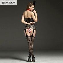 Black Open Crotch Sex Clothes Slutty Female Erotic Costumes Porn Women Sexy Lingerie Fishnet Body Stocking Dress