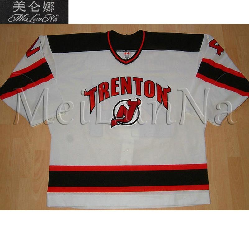 MeiLunNa Custom ECHL Trenton Devils Hockey Jerseys 19 Scott Bertoli Kowalsky Pandolfo Home Road Sewn On Any Name NO. Size meilunna custom echl manchester monarchs hockey jerseys 6 david kolomatis 24 michael doherty home road sewn on any name no size