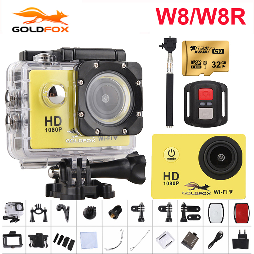 GOLDFOX Sports Action Camera W8/W8R HD 1080P 12MP WiFi Camera Remote Control Video Camcorder go waterproof pro camera deportiva