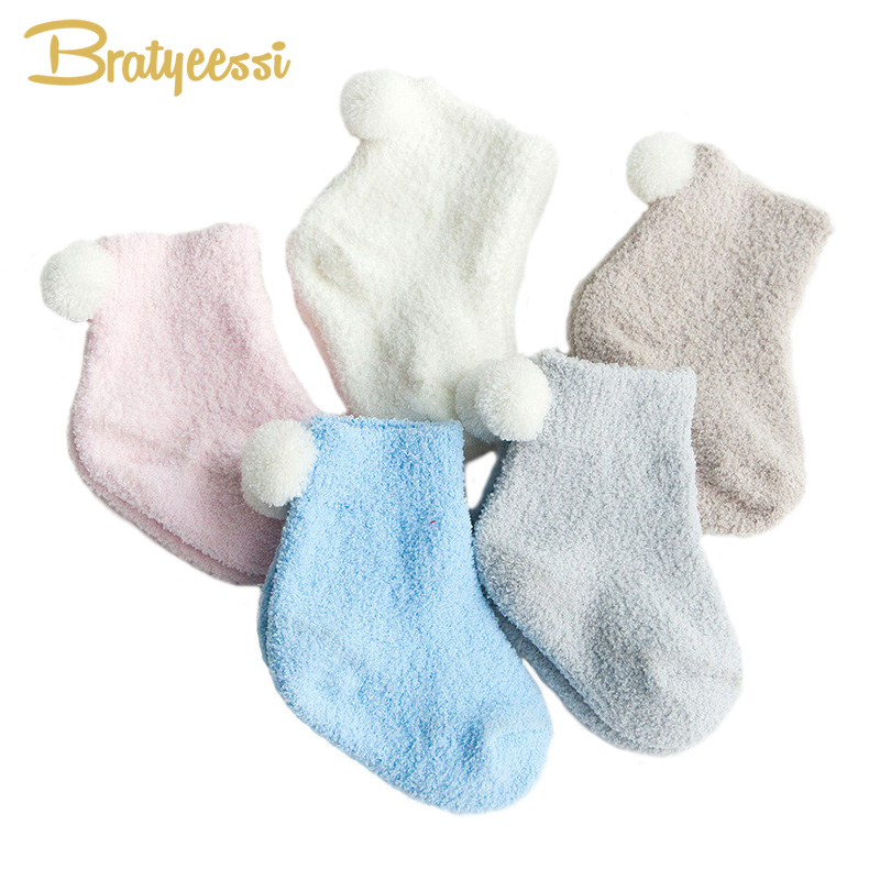 Cute Soft Winter Newborn Socks Coral Fleece Warm Baby Socks For New Born To 3 Years 3 Pairs/Lot