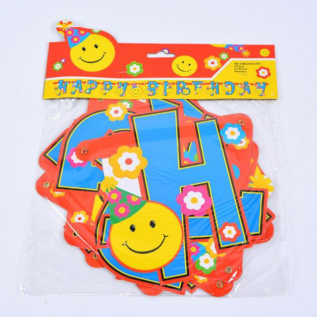 Novelty Party Supplies Favor Foam Paper Happy Birthday Emoji Banners Flags Decoration Home