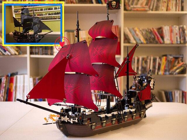 El negro perla y venganza de la Reina Anne fit legoings piratas buque Caribe bloques de construcción ladrillos 4184 4195 regalo conjunto