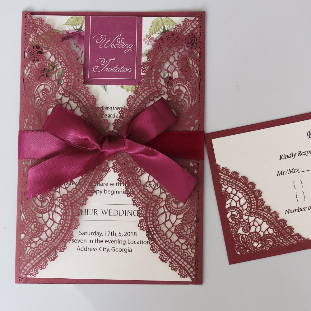 Online Shop Purple Wedding Invitation Cards with White Ribbon Bow ...