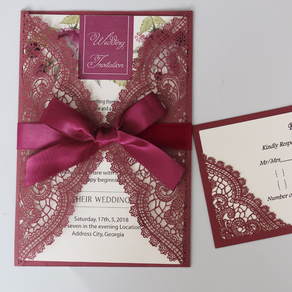 Us 125 0 Burgundy Wedding Invitation Laser Cut Cards Elegant Lace Invitations With Ribbon Set Of 50 Pcs In