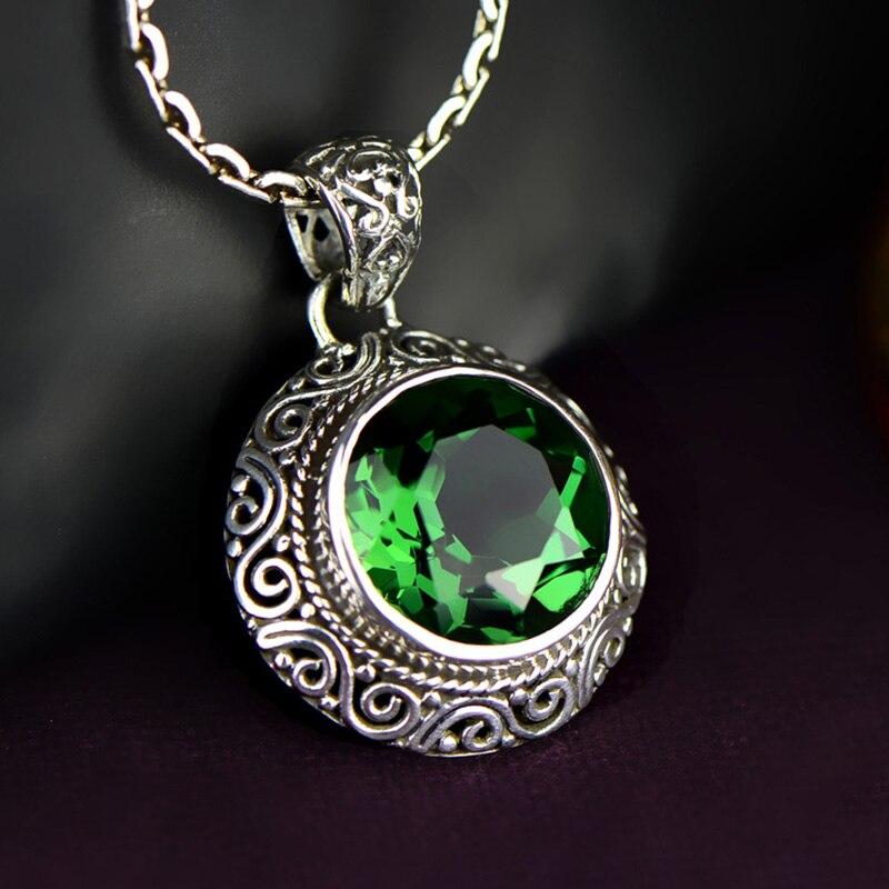 Véritable pur 925 pendentif en argent pour femmes émeraude pierre naturelle collier personnalisé et pendentif Thomas Sabor